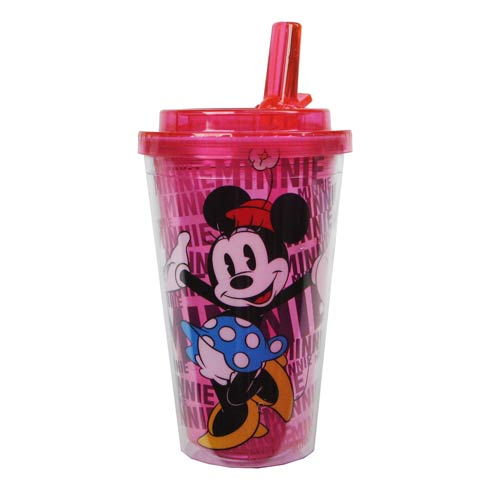 Minnie Mouse Disney Plastic 16 oz. Flip-Straw Travel Cup