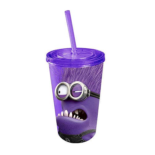Despicable Me 2 Angry Purple Minion Plastic Travel Cup