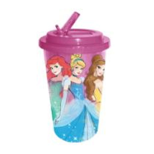 Disney Princesses Plastic 16 oz. Flip-Straw Travel Cup