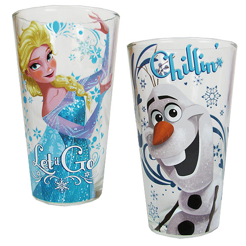 Frozen Elsa Let it Go and Olaf Chillin Pint Glass 2-Pack