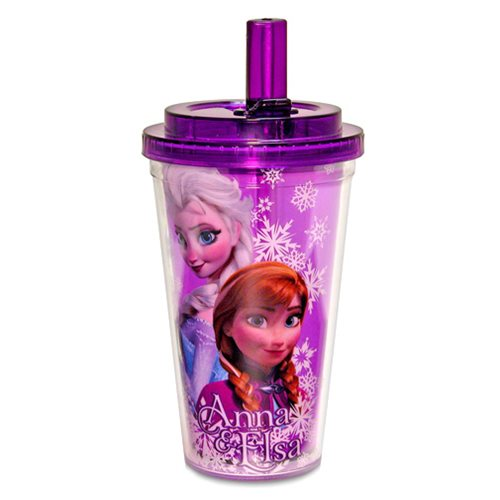 Disney Frozen Anna and Elsa 16 oz. Flip Straw Travel Cup