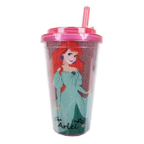 Ariel Standing Glitter Plastic 16 oz. Flip-Straw Travel Cup