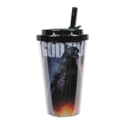 Godzilla 2014 Movie Plastic 16 oz. Flip-Straw Travel Cup