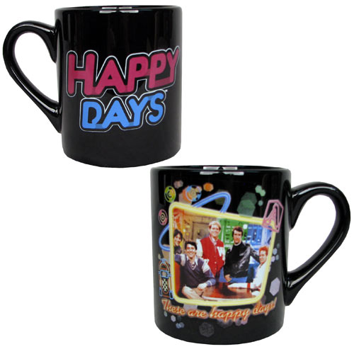 Happy Days Cast Portrait Black Mug
