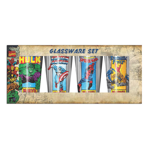 Marvel Retro Heroes Laser 16 oz. Pub Glass 4-Pack