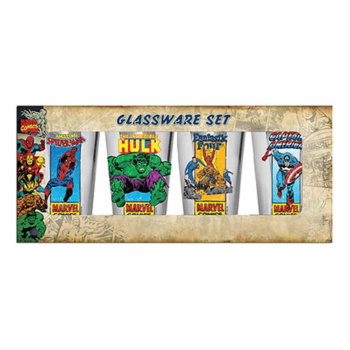 Marvel Heroes Clear 16 oz. Pub Glass 4-Pack