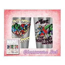 Marvel Only Date Superheroes Glass Tumbler 2-Pack