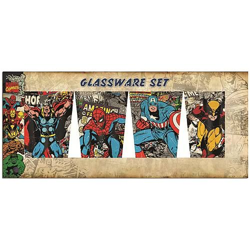 Marvel Characters in Action Glass Tumbler 4-Pack