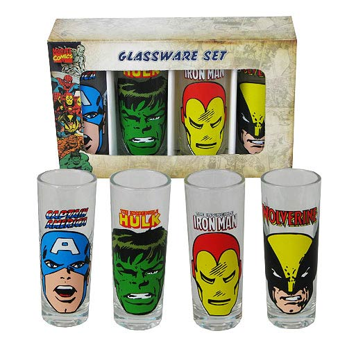 Marvel Heroes Faces Shot Glass Set A 4-Pack