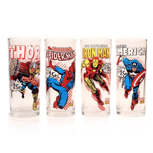 Marvel Characters with Names 10 oz. Glass Tumbler 4-Pack