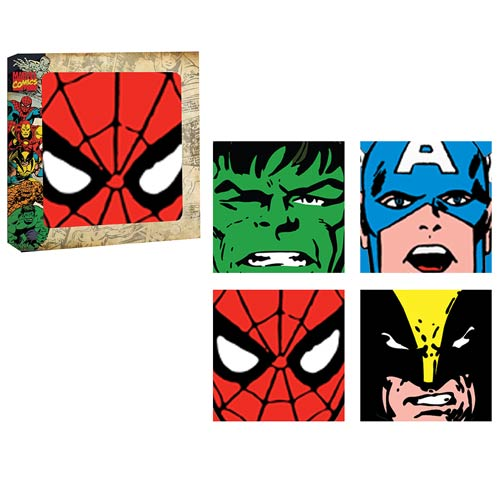 Marvel Heroes Faces Glass Coaster 4-Pack