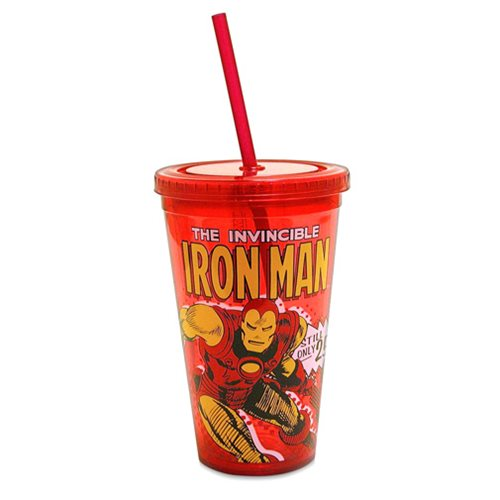 Iron Man Comic Book Action Plastic Travel Cup