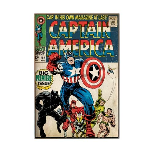 Captain America Premiere Issue Wood Wall Sign