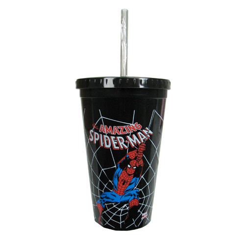 Spider-Man Swings Black Plastic Travel Cup