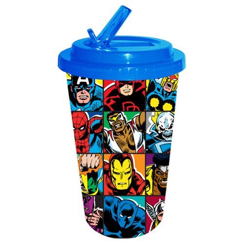 Marvel Heroes Grid Plastic Flip Straw Cold Cup