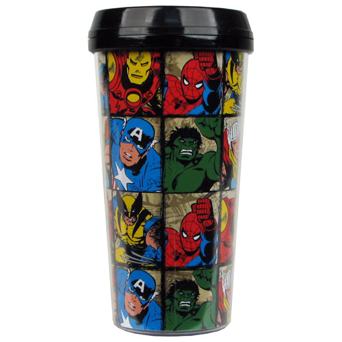 Marvel Characters Grid 16 oz. Plastic Travel Mug