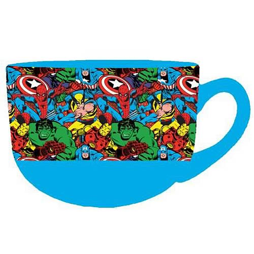 Marvel Characters in Action Blue Mug