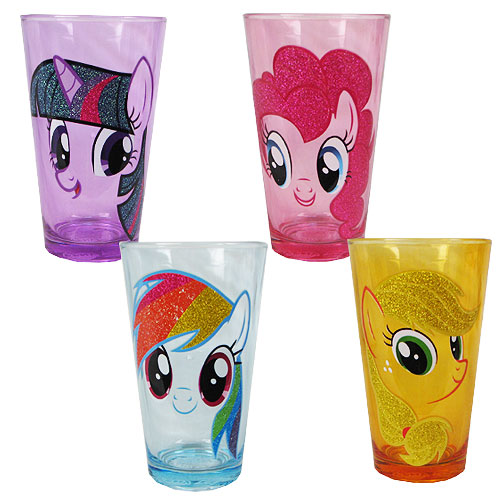 MLP Friendship is Magic Head Glitter 16 oz. Pub Glass 4-Pack
