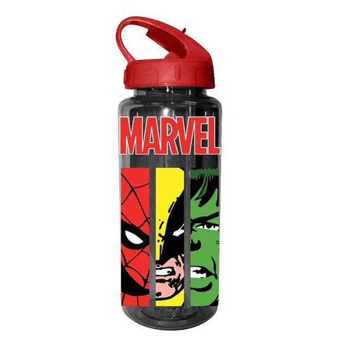 Marvel Heroes Faces Panel Plastic Water Bottle