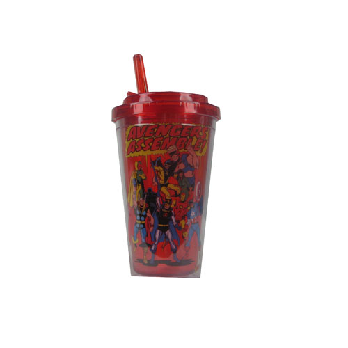 Avengers Assemble Plastic 16 oz. Flip-Straw Travel Cup