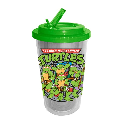TMNT Sewer Plastic 16 oz. Flip-Straw Travel Cup