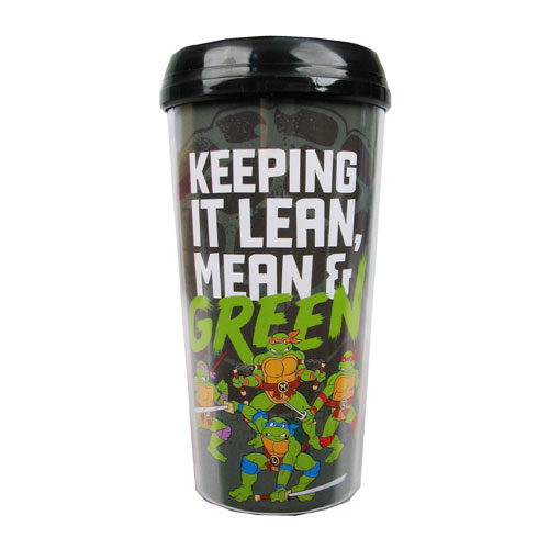 TMNT Lean, Mean, and Green 16 oz. Plastic Travel Mug