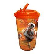 Star Wars Episode VII The Force Awakens BB 8 Orange 16 oz Flip Straw Travel Cup