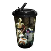 Star Wars Episode VII The Force Awakens The Droids 16 oz Flip Straw Travel Cup