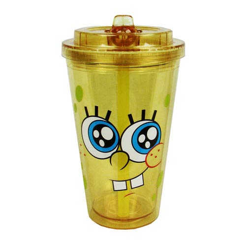 SpongeBob Tongue and Cheeks Plastic Flip Straw Cold Cup