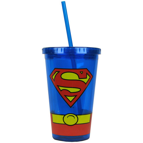 Superman Uniform 16 oz. Plastic Travel Cup
