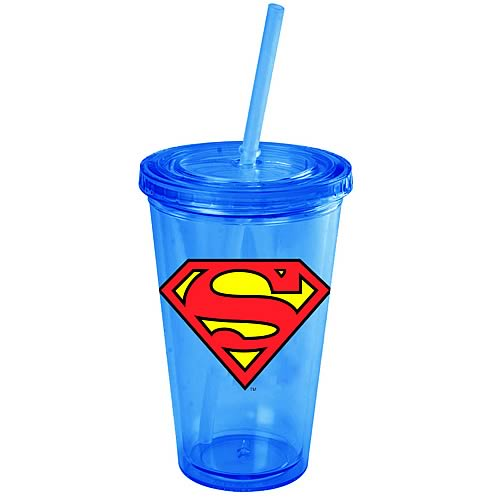 Superman Shield Logo 16 oz. Plastic Travel Cup