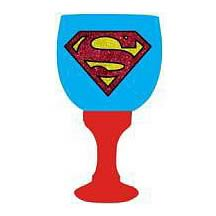 Superman Logo Glass Goblet Drinking Cup