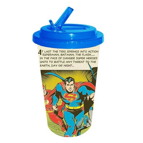 Superman Trio Plastic Flip Straw Cold Cup