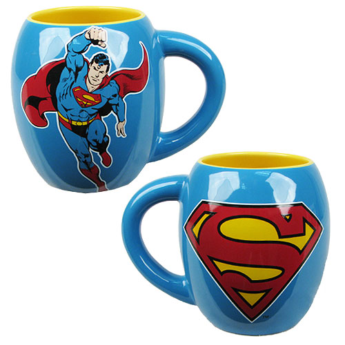 Superman Flying Blue 18 oz. Ceramic Oval Mug