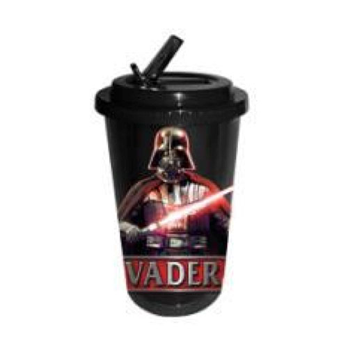 Star Wars Darth Vader Plastic 16 oz. Flip-Straw Travel Cup
