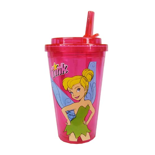 Disney Tinker Bell Plastic 16 oz. Flip-Straw Travel Cup