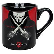 V for Vendetta Freedom Forever Black Mug