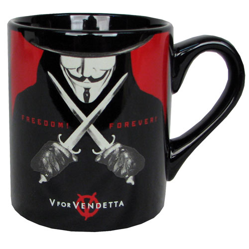 V for Vendetta Freedom Forever Black Mug