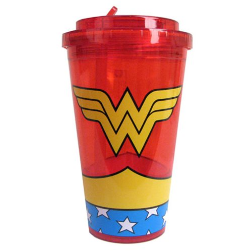 Wonder Woman Uniform Plastic 16 oz. Flip-Straw Travel Cup