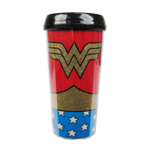 Wonder Woman Uniform Glitter 16 oz. Plastic Travel Mug
