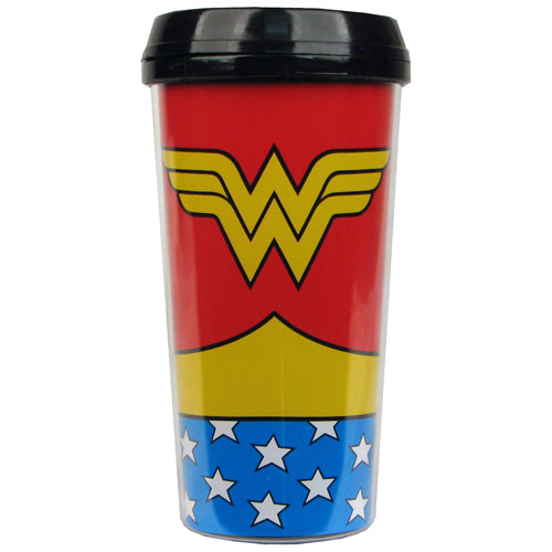 Wonder Woman Uniform 16 oz. Plastic Travel Mug