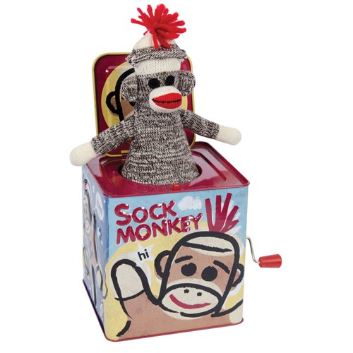 Sock Monkey Jack-in-the-Box