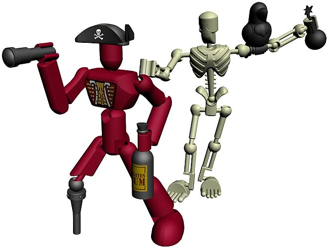 Stikfas Alpha Male Pirate with Skeleton