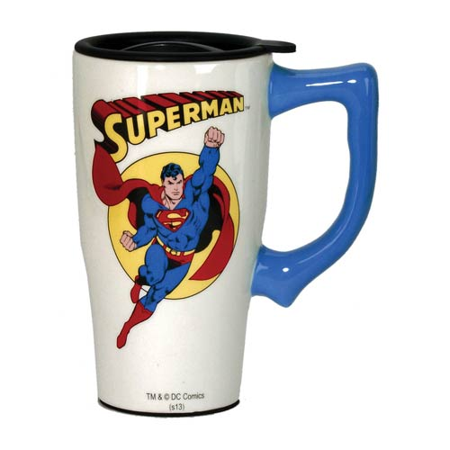 Superman White Travel Mug with Handle