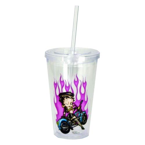 Betty Boop Biker Betty 16 oz. Travel Cup with Straw