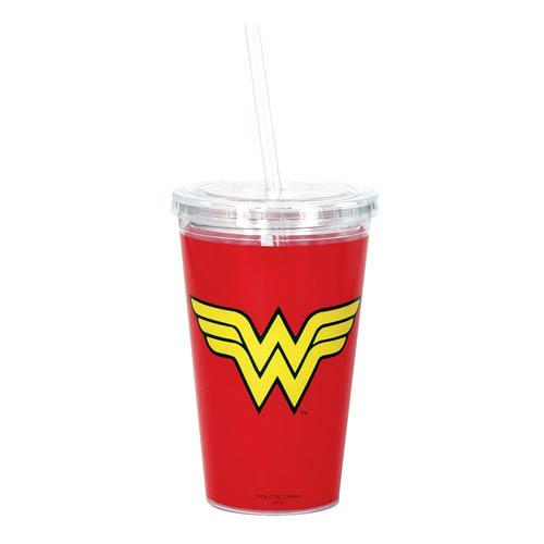 Wonder Woman Red 16 oz. Travel Cup with Straw