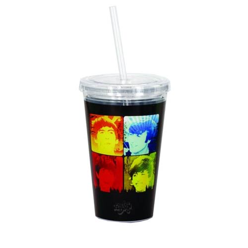 The Beatles Group Photo 16 oz. Travel Cup with Straw