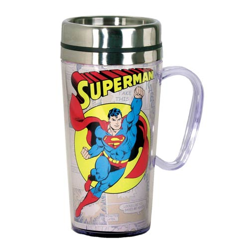 Superman Comic Panel White Insulated Travel Mug with Handle