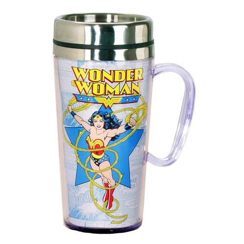 Wonder Woman Comic White Insulated Travel Mug with Handle