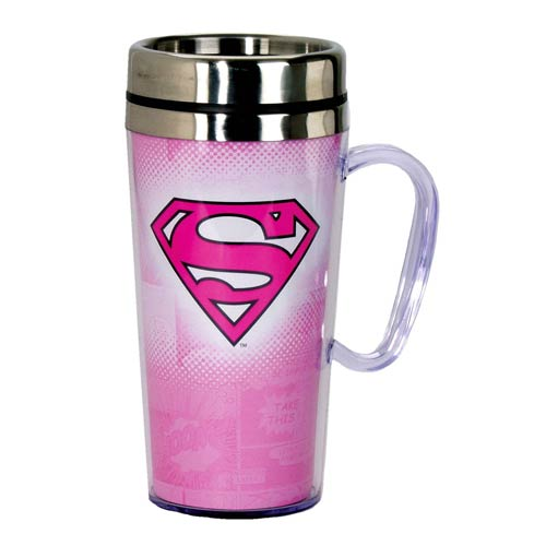 Superman Insulated Pink Travel Mug with Handle